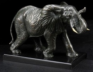 Elephant with Patina Finished Metal Sculpture on Wood Base T.P.
