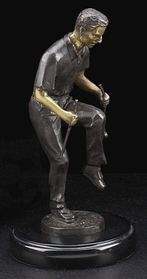 Upset Golfer Bronzed Metal Sculpture on Marble Base T.P.