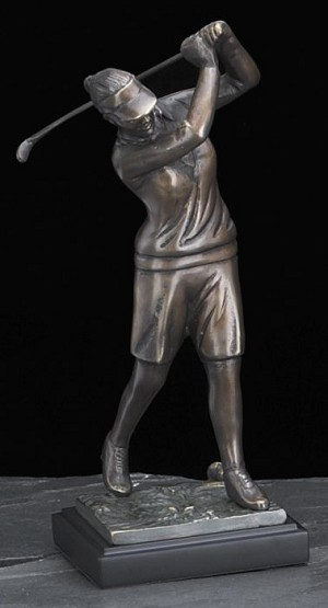 Female Golfer Bronzed Metal Sculpture with Mable Base T.P.