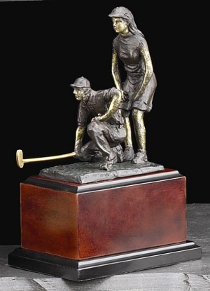 Large Mix Doubles at the Ninth Golfer Bronzed Metal Sculpture on Wood Base T.P.