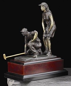 Small Mix Doubles at the Ninth Golfer Bronzed Metal Sculpture on Wood Base T.P.