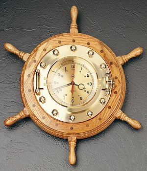 19 Inch Brass Oak Ship's Wheel Wall Clock T.P.