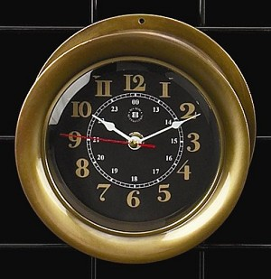 Antiqued Brass Wall Clock with Beveled Glass T.P.