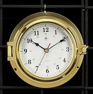 Tiny Brass Porthole Wall Clock with Beveled Glass T.P.