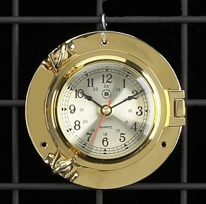 Brass Porthole Wall Clock with Beveled Glass T.P.
