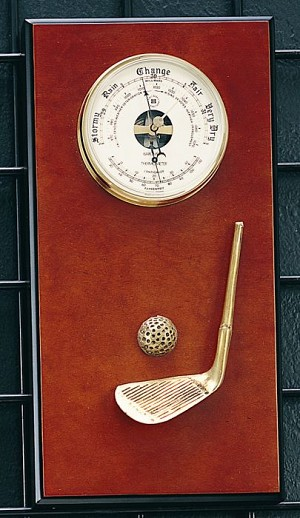 Golf Brass Barometer with Thermometer on Burlwood Base T.P.