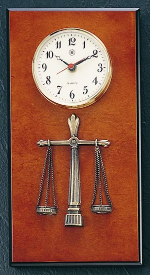 Legal Brass Wall Clock on Burlwood T.P.