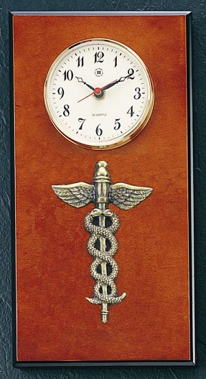 Medical Brass Wall Clock on Burlwood Base T.P.