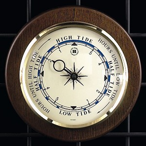 Large Brass Tide Wall Clock on Cherry Wood Base T.P.