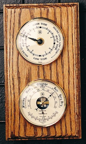 Tide Wall Clock and Barometer with Thermometer T.P.