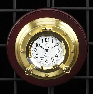 Brass Porthole Wall Clock on Mahogany Wood Base T.P.
