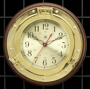 Brass Porthole Wall Clock on Solid Wood Base T.P.