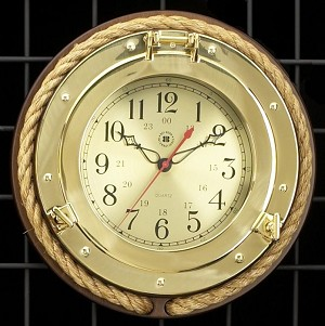 Brass Porthole Wall Clock with Fisherman's Rope T.P.