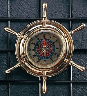 Brass Ship's Wheel Roman Numeral Wall Clock T.P.