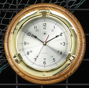 Brass Porthole Wall Clock on Oak Wood Base T.P.