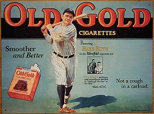 Babe Ruth Old Gold Cigarettes Tin Sign