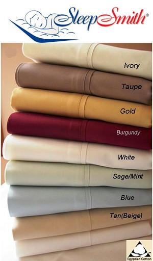 Expanded Queen Size 300 Thread Count Egyptian Cotton Sheets Solid Color