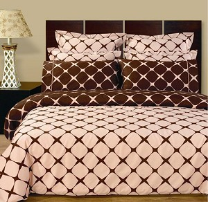 Blush And Chocolate Bloomingdale 9 Piece Egyptian Cotton Down Alternative Bed In A Bag