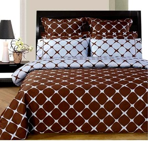 Blue And Chocolate Bloomingdale 9 Piece Egyptian Cotton Down Alternative Bed In A Bag