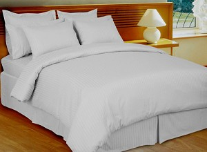 White Stripe 8 Piece 600 Thread Count Egyptian Cotton Bed In A Bag