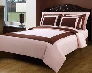 3 Piece Twin Blush Pink And Chocolate 300 Thread Count Egyptian Cotton Duvet Cover Set