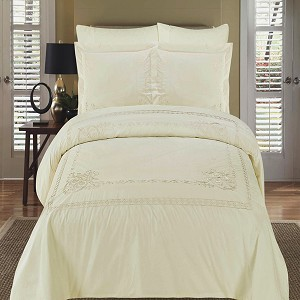 Athena Ivory Embroidered Full/Queen Egyptian Cotton 3 Piece Duvet Cover Set