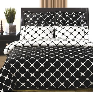 White And Black Bloomingdale 8 Piece Egyptian Cotton Duvet Cover And Sheet Set