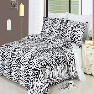 Zebra Full/Queen Egyptian Cotton 300 Thread Count 3 Piece Duvet Cover Set