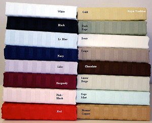 Full Or Double Size 300 Thread Count Egyptian Cotton Sheets Striped