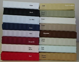 Olympic Queen Size 300 Thread Count Egyptian Cotton Sheets Stripe