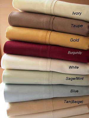 Queen Size 300 Thread Count Egyptian Cotton Sheets Solid