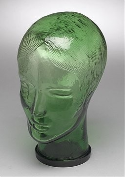 Glass Mannequin Head Green