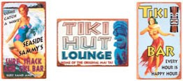 Tiki Bar Metal Signs Set of 3