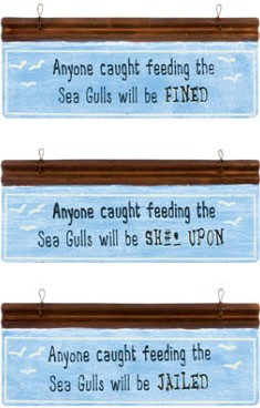 Sea Gull Warning Metal Signs Set of 3