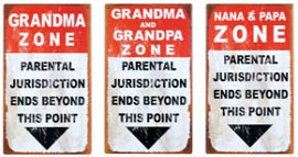 Grand Parents Zone Metal Signs Set of 3