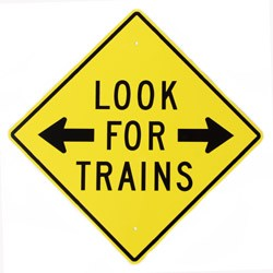 "Look For Trains With Right and Left Arrow 12"" x 12"" Metal Sign"