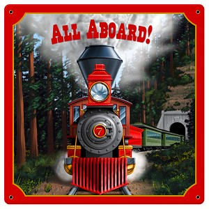 "All Aboard! 11.5"" x 11.5"" Vintage Metal Sign"