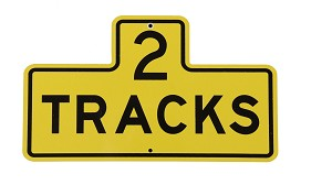 "2 Track Yellow 7"" x 12"" Metal Sign"