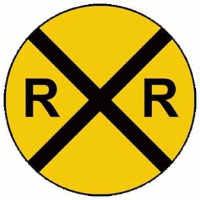 "RR X Round Yellow And Black 18"" Metal Sign"