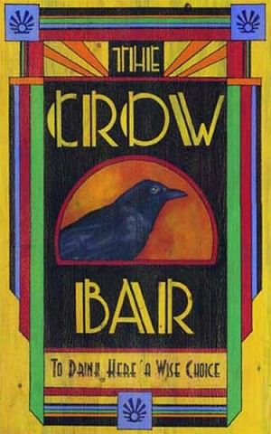 Personalized Wood Signs, The Crow Bar Antiqued Wood Sign