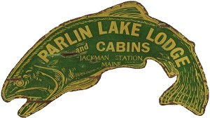 Personalized Wood Signs, Parlin Lake Lodge Fish Antiqued Wood Sign