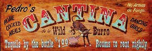 Personalized Wood Signs, Pedro's Cantina de la Wild Burro Antiqued Wood Sign