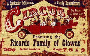 Personalized Wood Signs, Ricardo Clowns Vintage Antiqued Wood Sign