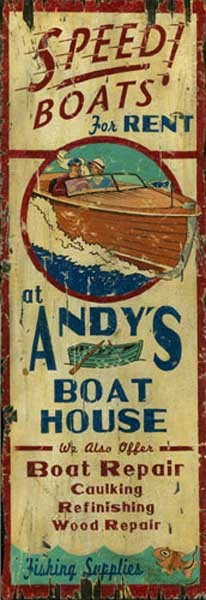 Personalized, Andy's Boat House Antiqued Wood Sign