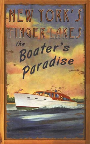Personalized Wood Signs, New York's Finger Lakes the Boater's Paradise Antiqued Wood Sign