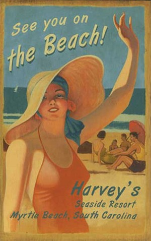 On the Beach Harvey's Seaside Resort Antiqued Wood Sign