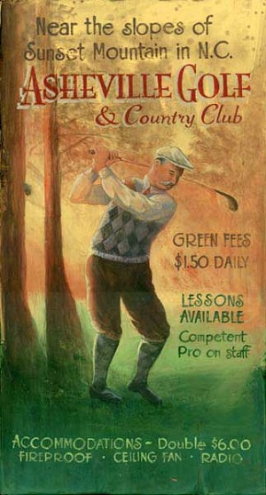 Asheville Golf and Country Club Antiqued Wood Sign