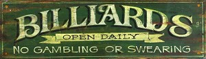 Personalized Wood Signs, Green Billiards Antiqued Wood Sign