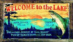 Welcome to the Lake Antiqued Wood Sign