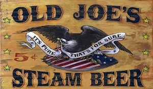 Personalized Wood Signs, Old Joe's Steam Beer Antiqued Wood Sign